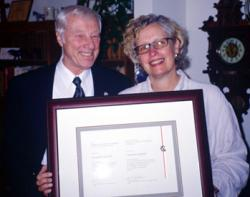 Charles Garrad receiving the Margaret & James Pendergast Award